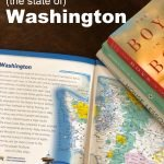 Stack of Books Set In the State of Washington with map