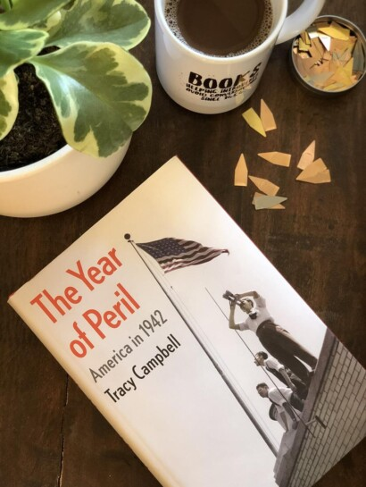 The Year of Peril America in 1942 Book, coffee, and plant