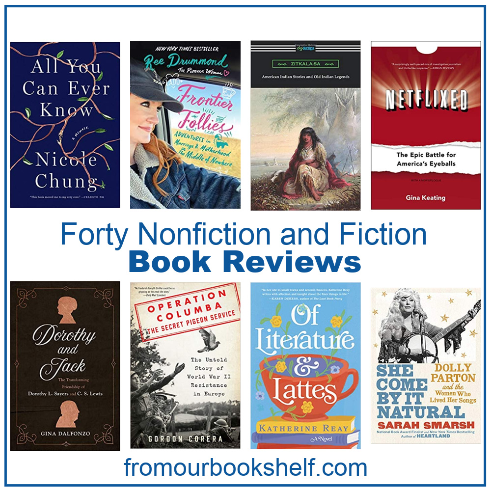 eight book covers and text 40 nonfiction and fiction book reviews