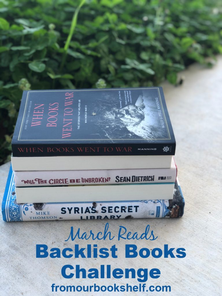 Backlist Books Challenge March book stack
